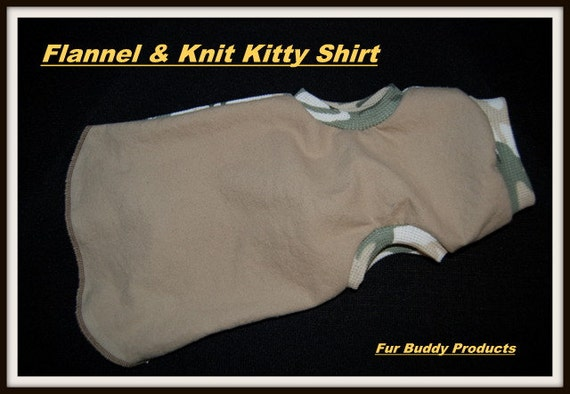 Sphynx Buddy Wear Flannel and Thermal cotton knit kitty sweater.