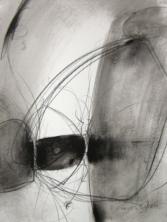 Black and White / Original Abstract Painting / Watercolor 004 / By Edmond Lacoste