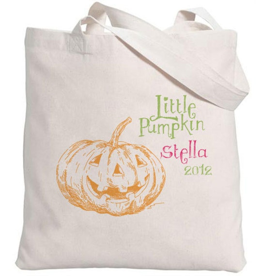 Halloween Tote // Little Pumpkin with Personalization