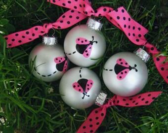 Ladybug Birthday Party Favor Ornaments - Pink Ladybug - TEN Personalized Ornaments, Ladybug Baby Shower, Ladybug Nursery, Ladybug Birthday