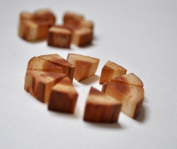 rustic wood beads - natural wooden triangular beads - set of 19