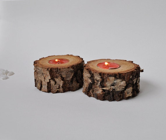 White Natural Birch Candle Holders ... set of 2