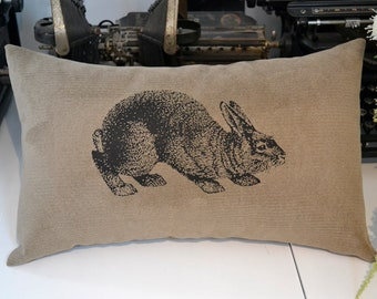 B. Poetic Bunny Pillow Cover in Sueded Tan