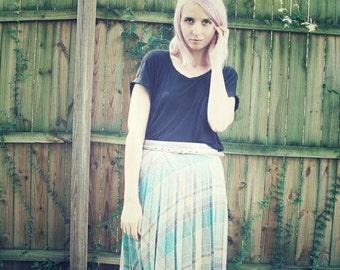 Pleated Pastel Plaid Midi Skirt
