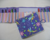Purple Tinker Bell Crayon Tote in a colorful print complete with 12 crayons and a paper pad