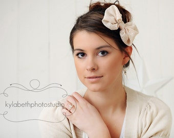 LAST ONE-the Sophia- beige chiffon bow with dainty silver dots, newborn to adult hair accessory, headband