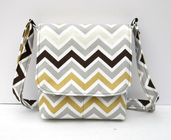 Small Chevron Bag Messenger Purse - Chevron in Gray and Brown - Long Adjustable Strap