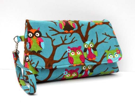 Owl Clutch Wristlet with Flap and Flat Bottom - Owls on Blue Corduroy