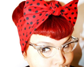 Vintage Inspired Head Scarf, Bow or Bandanna Style,bRed with Black Polka Dots, Rockabilly, Retro
