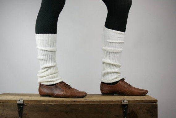 Upcycled Recycled Repurposed Sweater Leg Warmers Boot Cuffs White Ballet Dance Yoga