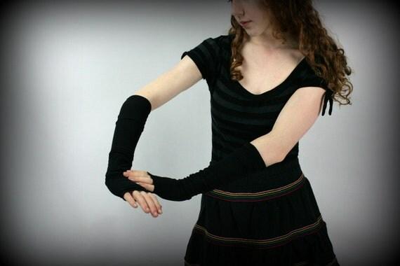 Recycled Artist Fingerless Gloves Black Nylons