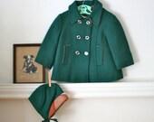 vintage 50s child's coat & hat - PINE GREEN wool pea coat / 3T