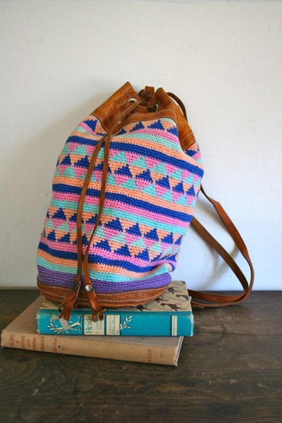 vintage woven backpack - PASTEL crochet and leather drawstring bag