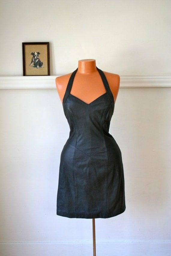 vintage leather halter dress - JET BLACK 80s body con dress / S