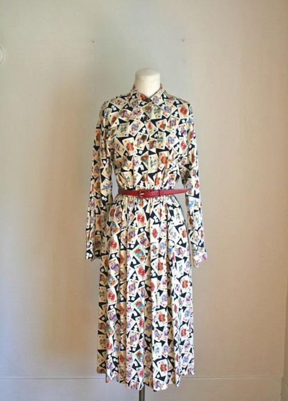 vintage novelty shirtwaist dress - DICE & CARDS novelty print dress / M-L