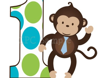 Personalized Monkey Birthday T Shirt or Bodysuit