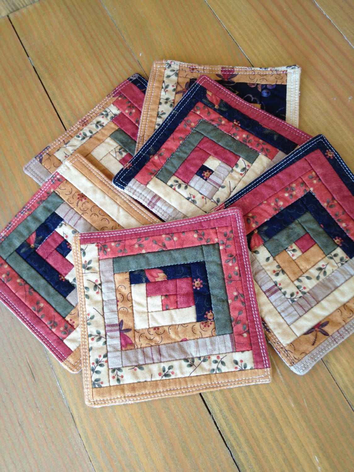 Autumn Log Cabin Quilted Patchwork Coasters Set Of 6