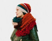 Color Oversized Scarf and Slouchy Hat Set
