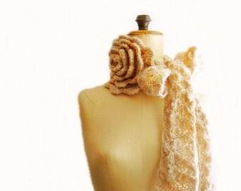 Crochet NeckWarmer Natural Ivory Scarflette