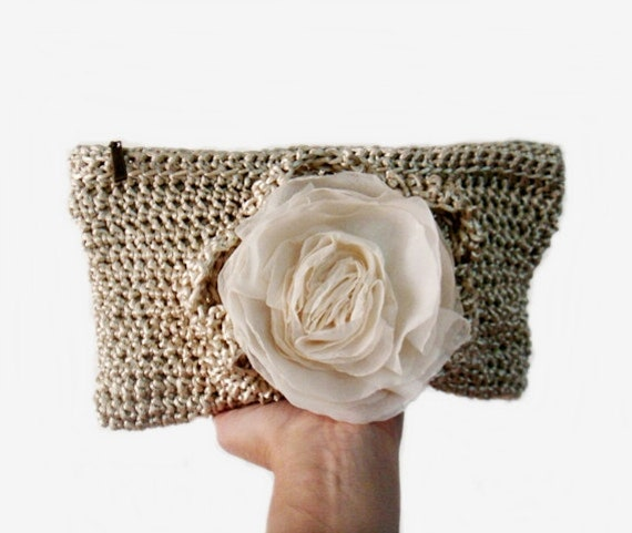 Crochet Clutch Purse : ... Crochet Clutch Bag Wedding Bridal Purse Chiffon Flower Pin on Etsy