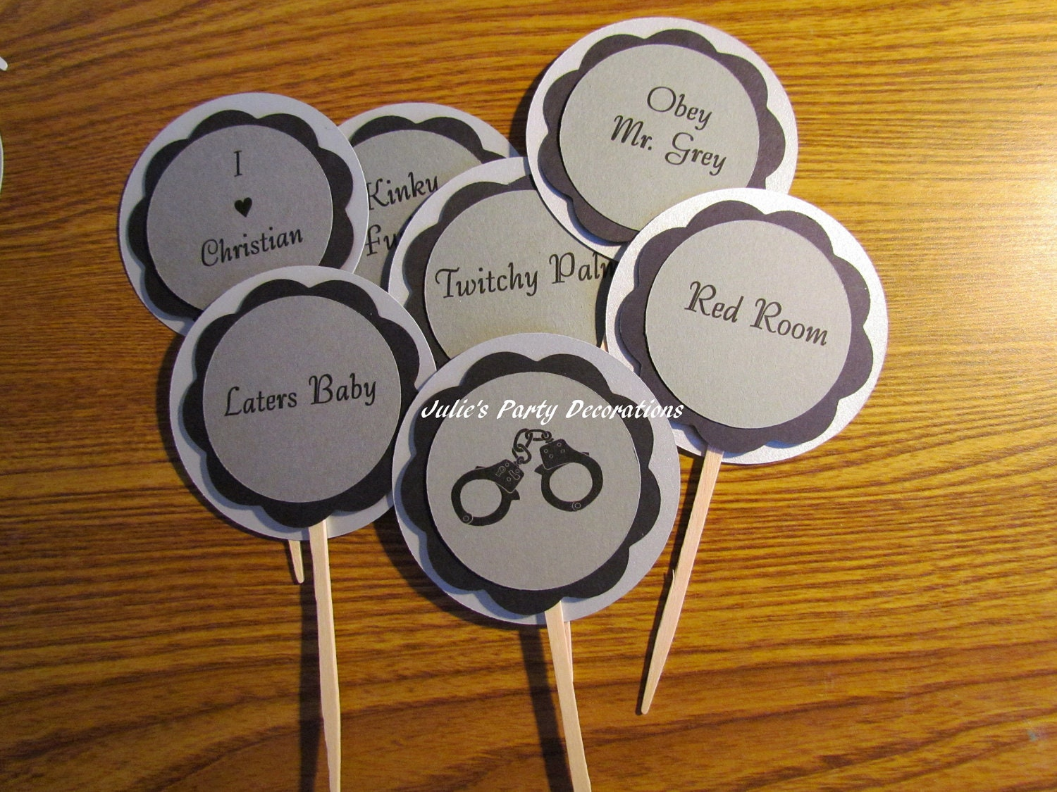 50 Shades Of Grey Decorations 6 Fifty Shades Of Grey Cupcake Toppers