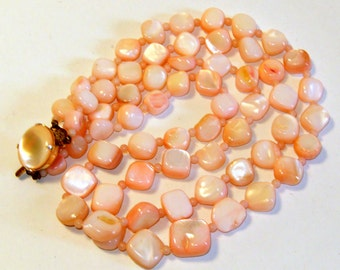 Vintage Pink And White Mother Of Pearl Two Strand Necklace