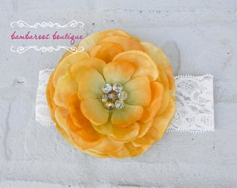 Gold Flower Headband, flower girl headband, baby headband, fall headband