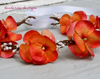 Orange Flower Hair Wreath, flower girl head piece, flower girl headband,  flower girl hair accessories
