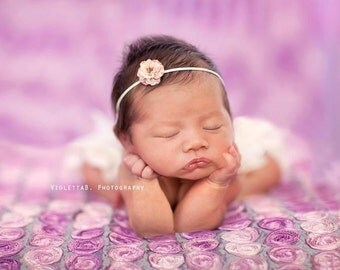 pink small flower headband, pink baby headband, small flower headband, newborn photography prop