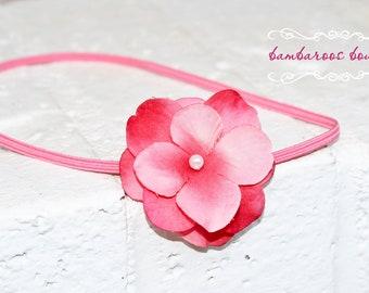 pink small flower headband, pink baby headband, small flower headband, newborn photography prop