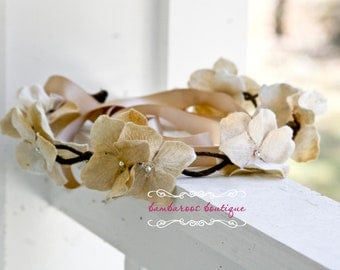 Gold Flower Hair Wreath, flower girl head piece, flower girl wreath,  flower girl hair accessories, wedding hair wreath