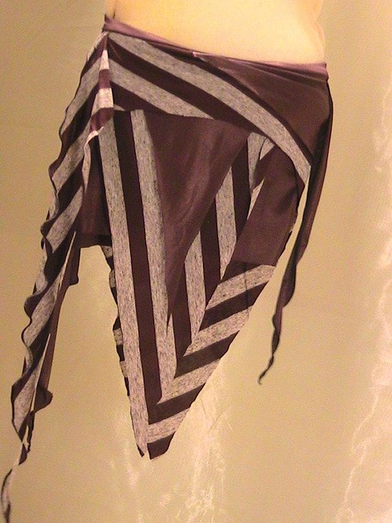 Tribal Belly dance Seaweed skirt, panel skirt , hip apron in Brown stripes XS-SM Reserved for Megumi