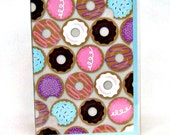 Kid's passport cover, pink and purple doughnut travel wallet, kid's passport wallet, cookie passport cover, document id holder, in vinyl