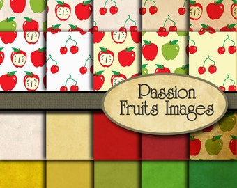 Summer Fruits 20 Piece Digital Paper Pack--Instant Download