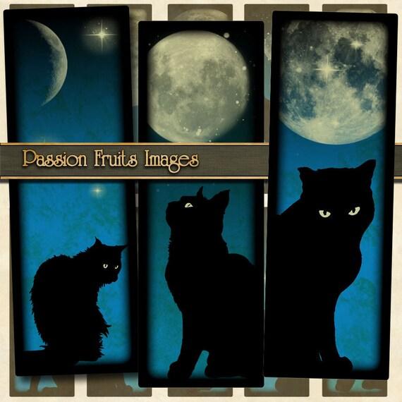 Halloween Digital Collage Sheet Black Cats on Midnight Blue Skies 1x3 slides