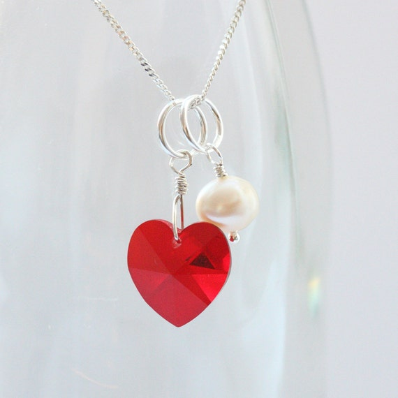 Valentine Heart Necklace in Red