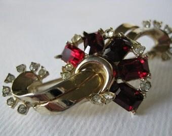 Vintage Victorian Style Red Rhinestones Brooch
