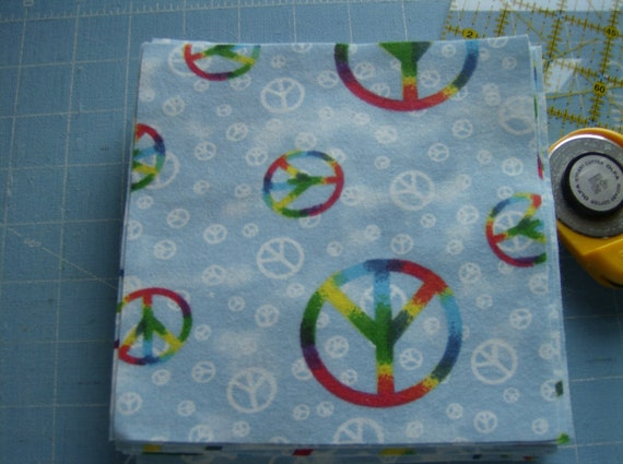 DESTASH CLEARANCE Rainbow Peace Signs on Blue 6 inch Flannel Fabric Squares