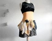 Black Velvet Shabby Chic Mini Dress Women's Clothing Tan Lace Upcycled Clothes Eco Friendly Tattered Dress Size Medium 'EMILIE'