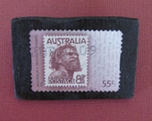 Recycled Australian Aborigine People Mail Postage Stamp Brooch
