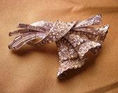 Vintage Bouquet Brooch Ribbon Rhinestone Pin  Rodium Plated Original 1940