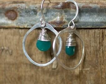 Silver Hoop Earrings, Green, Jade Jewelry, Delicate Jewelry, Wire Wrap
