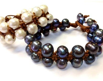 Made in USA - Quality Freshwater Pearl and Leather Bracelet (RumPai 1) Made to order and Ship within 1-2 business day