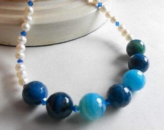 Agate Gemstone Necklace Beaded Pearl Necklace Blue Swarovski Crystal Handmade Jewelry