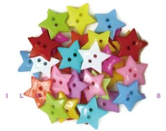30 pcs 18MM Star Buttons (L) / 2 Holes Plastic Buttons / Sew-through Buttons / A set of 30 pcs mixed colors
