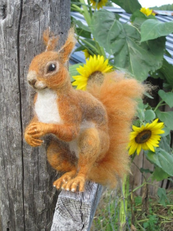 Needle felted Red Squirrel ready to ship