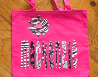 Large Personalized Tote with Flower Applique - kids girls book bag pink zebra stripe custom birthday gift idea wedding party flower girl