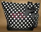 Personalized Large Black and White Polka Dot Canvas Bag Custom Embroidered