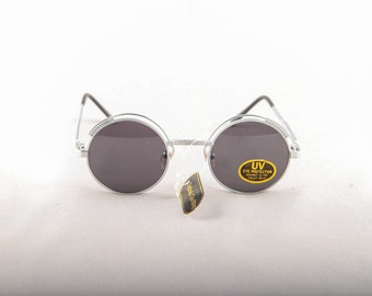 Vintage 80s 90s  Silver Stainless Steal Round Circle Sunglasses Dead Stock Deadstock