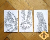 Set of 3 original aceo - three girls - The Hair and Roses collection - ink drawing - aceo illustration